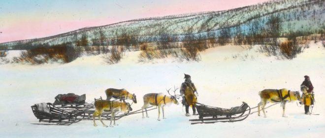 Antikt foto av samer som er på vidda i finmark. Foto: Finnmark fylkesbibliotek