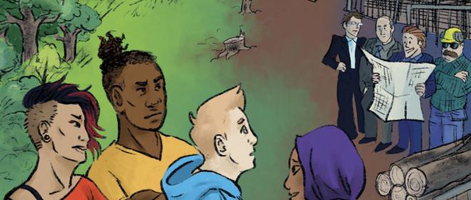 Forsidebilde til tegneserien Klar, ferdig, påvirk! som er en del av Prosjekt Nærmiljø